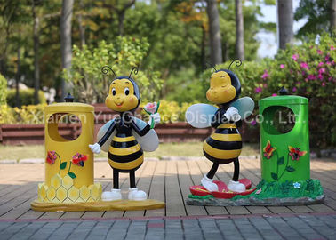 Fiberglass Honeybee Cartoon Character Statues Decorative With Metal Trash Can