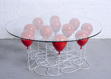 Home Decoration Fiberglass Furniture Red Color Fiberglass Balloon Standing Table