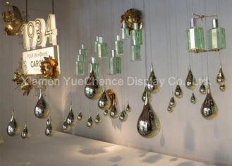 Electroplated Item Mirror Silver Fiberglass Water Drop Statues Customized Decorations