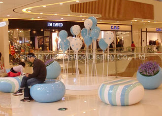 Shopping Center Fiberglass Furniture Round Fiberglass Rest Stool Candy Shape