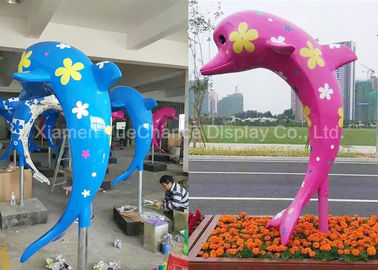 Outdoor Fiberglass Animal Statues Customized Color Cute Dolphin Statues